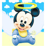 Kit Imprimible De Mickey Mouse Bebe -tarjetas Bautismo Y Mas