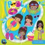 Kit Imprimible Fiesta Piletas Verano 8 Imagenes Clipart