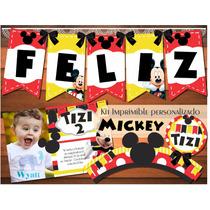 Kit Imprimible Personalizado Mickey Invitaciones Cumpleaños