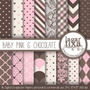 Kit Imprimible Pack Fondos Rosa Y Chocolate Clipart