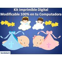 Kit Imprimible Bautismo Niña Y Niño Fiesta Torta Cumpleaños