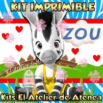 Kit Imprimible Zou La Cebra Invitaciones Y Mas 2x1