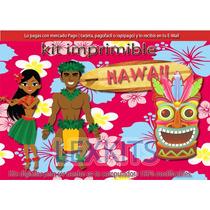 Kit Imprimible Hawaiano Hawaii Playa Caribe Verano Candy Bar