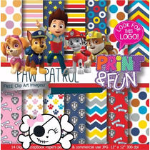 Kit Imprimible Pack Fondos Paw Patrol Clipart