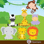 Kit Imprimible Animalitos De La Selva Imagenes Clipart