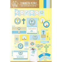 Kit Imprimible Personalizado Primera Comunion Varon Completo