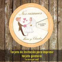 Kit Imprimible Tarjeta Giratoria Novios Casamiento Boda