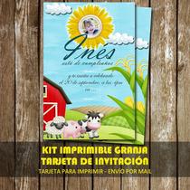 Kit Imprimible Tarjeta De Invitacion Personalizada Granja