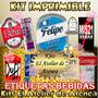 Kit Imprimible Etiquetas Bebidas - Envio Gratis