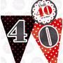 Kit Imprimible Cumpleaños 40 Años Candy Bar Invitacion Rojo