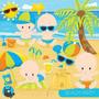 Kit Imprimible Fiesta De Playa Verano 4 Imagenes Clipart