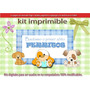 Kit Imprimible Candy Bar Bautismo Primer Añito Perritos.