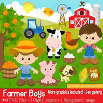 Kit Imprimible Granja 6 Animalitos Imagenes Clipart