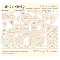 Kit Imprimible Vintage Flores Rosa Cumples Bautismo Comunion