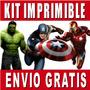 Kit Imprimible Vengadores Avengers Diseñá Tarjeta Invitacion