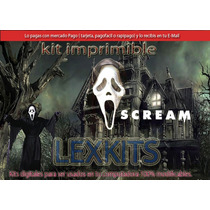 Kit Imprimible Terror Scream Candy Bar Tarjetas Cump