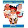 Kit Imprimible Jake Piratas Cupcake Wrapper Topper Souvenir