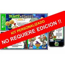 Kit Imprimible De Plantas Vs Zombis 100% Personalizado