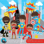 Kit Imprimible Chicos Superheroes 19 Imagenes Clipart