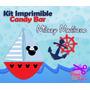 Kit Imprimible Candy Bar Mickey Marinero - Nautico