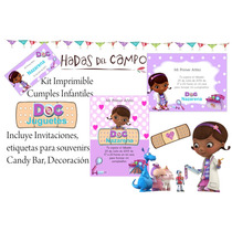Kit Imprimible Doctora Juguetes Candy Deco Cumples Bautismo