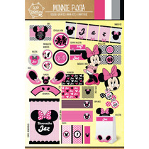 Kit Imprimible Personalizado Minnie Mouse Candy Bar Y Deco!