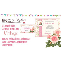 Kit Imprimible Shabby Vintage Cumple Bautismo Candy Bar Deco