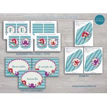 Sirenita Ariel Kit Imprimible Cumpleaños Candy Bar Princesa
