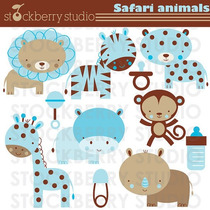 Kit Imprimible Animalitos Safari 6 Imagenes Clipart