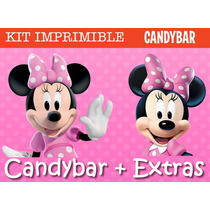 Kit Imprimible Minnie Mouse - Candy Bar + Extras