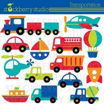 Kit Imprimible Medios De Transporte 3 Imagenes Clipart