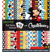 Kit Imprimible Promo 32 Fondos Hd Texturas Mickey Mouse Pk2