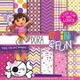 Kit Imprimible Pack Fondos Dora Clipart