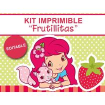 Kit Imprimible Editable Frutillitas, Candy Bar, Golosinas