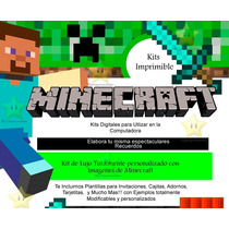 Kit Imprimible Minecraft + Candy Bar