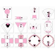 Kit Imprimible Candy Bar Minnie Mouse En Rosa -editable #256