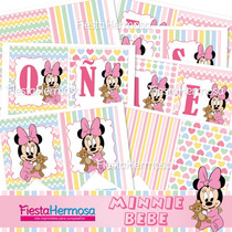 Baby Minnie Mouse, Kit Imprimible Para Cumpleaños, Bautismo
