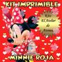 Kit Imprimible Minnie Roja - Invitaciones Y Mas - Editable