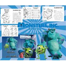 Kit Imprimible Libritos Monster Inc De Actividades Pintar