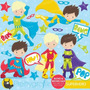 Kit Imprimible Chicos Superheroes 3 Imagenes Clipart
