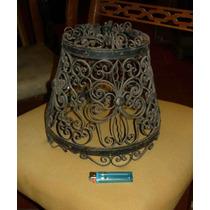 Antigua Decorativa Lampara En Hierro Forjado Y Bronce (---)