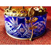 Lampara Colgante Cristal Bohemia Azul De Bronce Antigua Nuev
