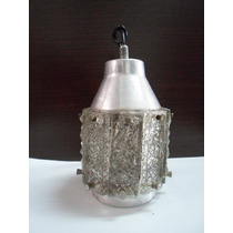 Antigua Luz Colgante De Vidrio Trabajado Y Aluminio!!unica