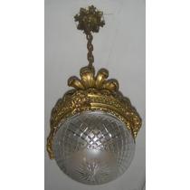 Lámpara De Colgar De Bronce - Tulipa Cristal Tallado-francia