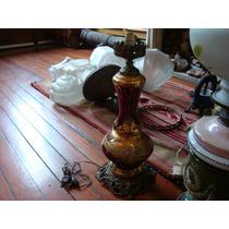 Antigua Lámpara A Kerosene Electrificada Cristal Murano Rubi