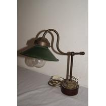 Antigua Lámpara Inglesa De Escritorio. Bronce Y Enlozado