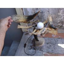 Antigua Lampara De Los Años 60 Aprox. Hecha Astas-cuernos