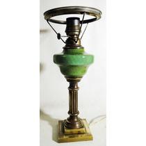 Ant.lampara De Mesa A Kerosenne Bronce Con Tanque Opalina