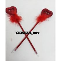 Lapicera Birome Corazon Rojo Con Detalle Pluma X 2