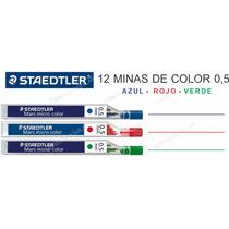 Tubo De 12 Minas De Color 0,5 Staedtler Roja Azul Verde